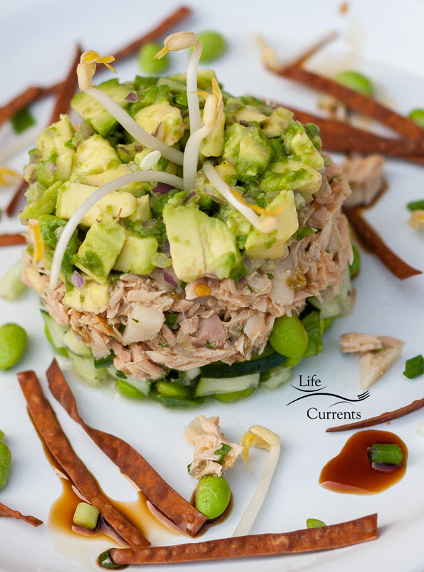 Island Trollers Albacore Tuna Tower a beautiful, yet easy to make appetizer