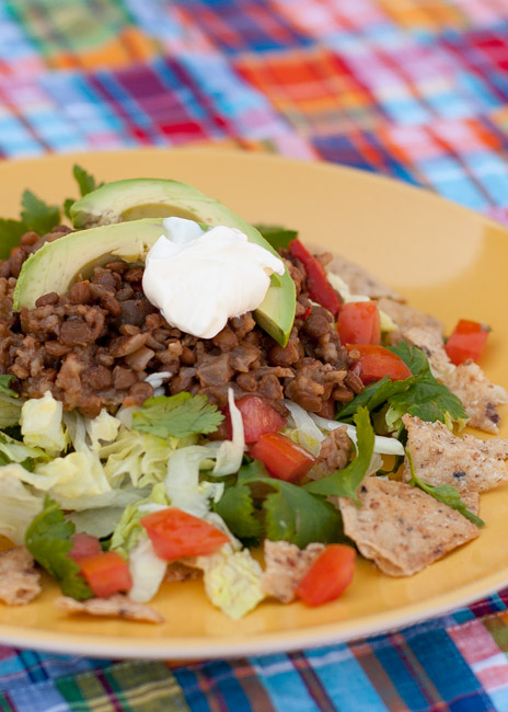 Slow Cooker Vegetarian Lentil Taco Salad