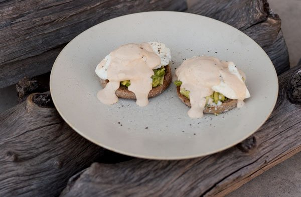 Chipotle-Sour Cream Sauce eggs Benedict with chipotle sauce