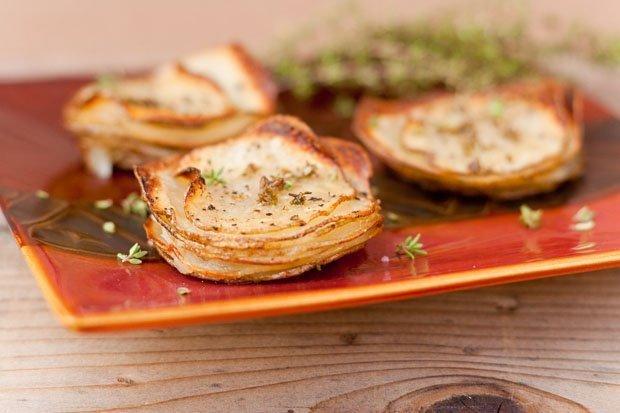 roasted potato stacks for Christmas Breakfast 2011