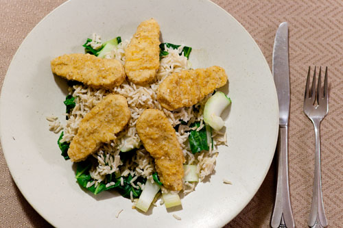 "bok choy, rice, and ""chicken"" fingers"