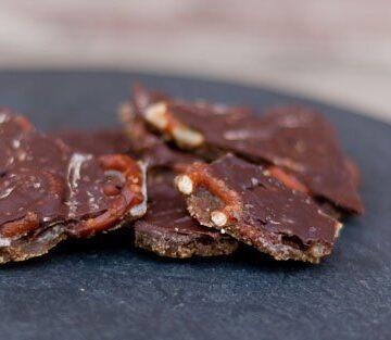 sweet and salty dessert snack of pretzel bark