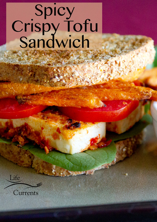 Spicy Crispy Tofu Sandwich  - With fresh spinach, tomatoes, sweet potato fries, and chipotle-sour cream sauce on toasted sprouted 7-grain bread