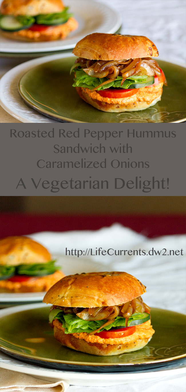Roasted Red Pepper Hummus Sandwich with Caramelized Onions - a vegetarian delight