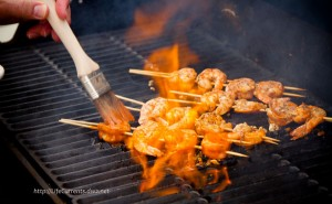 buf-a-que shrimp on the grill
