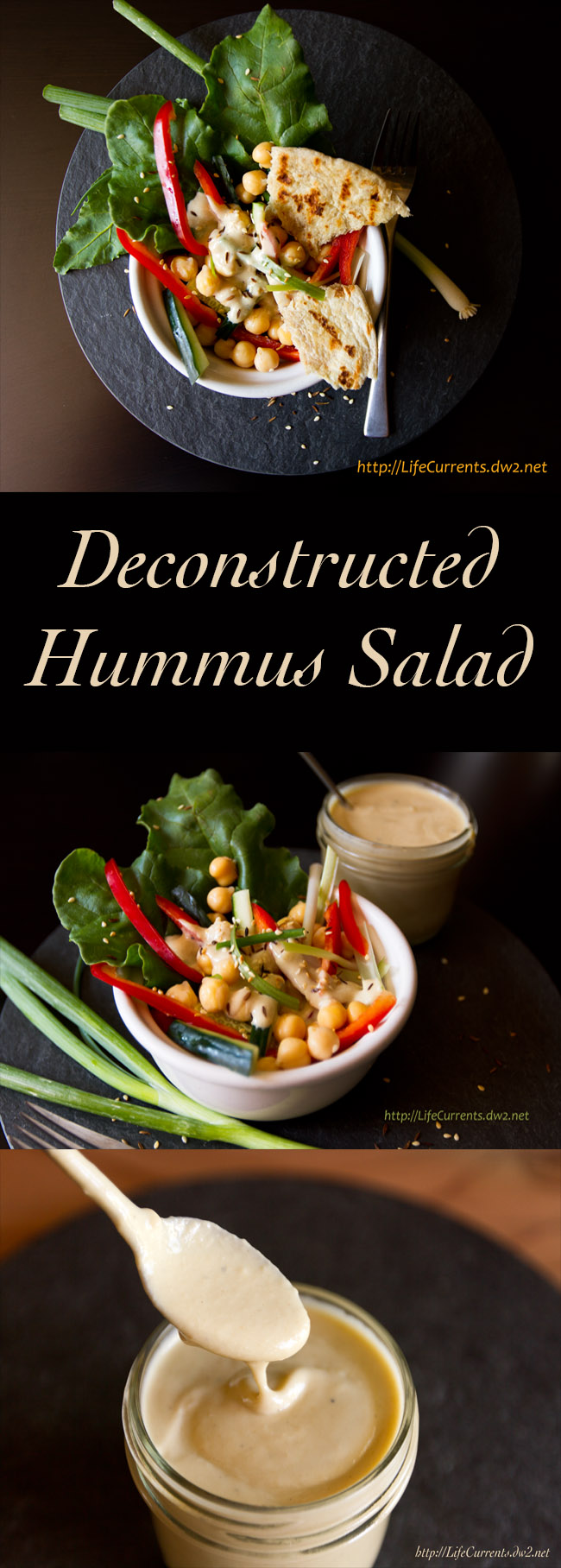 Deconstructed Hummus Salad with Toasted Flatbread Croutons and Tahini Dressing Life Currents #salad #hummus #tahini
