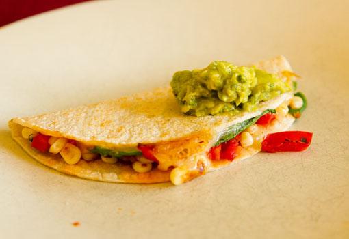 guacamole on veggie quesadillas