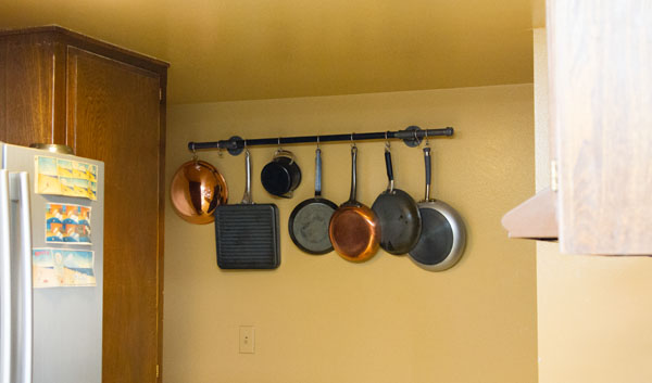DIY pot rack made from pipes