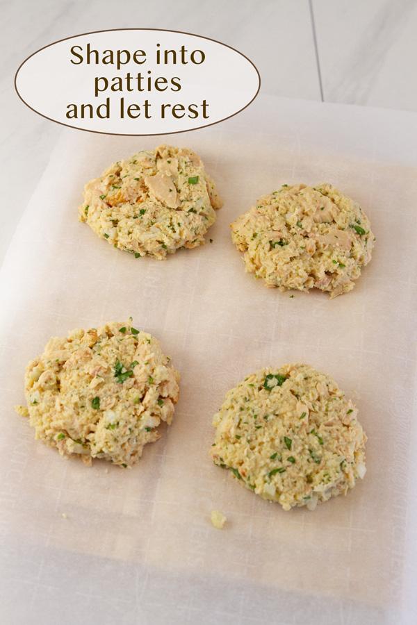 shape the tuna mixture into patties on a tray.
