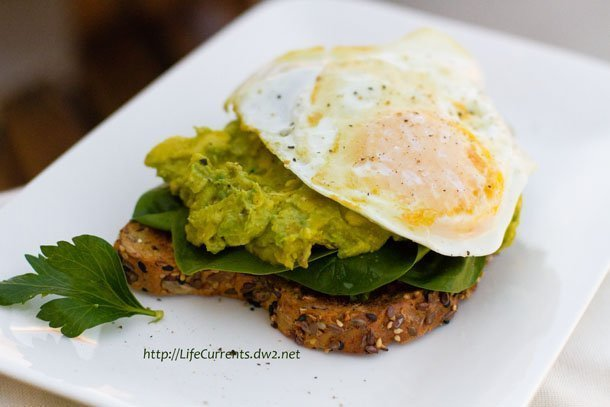 Poached Egg Tests - a review featured recipe for Open Faced Avocado Miso Toast with a Fried Egg