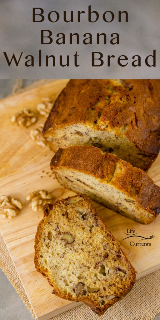 Sliced Bourbon Banana Walnut Bread on a wooden cutting board with walnuts around it and the title at the top