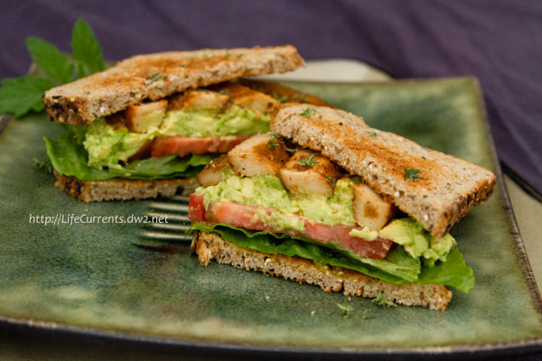 braised chik'n breast with avocado, lettuce, and tomato on toasted whole grain bread