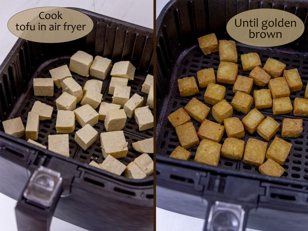 how to cook tofu in the air fryer, before and after.