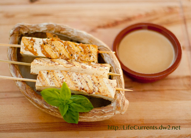 tofu satay with peanut dipping sauce https://lifecurrentsblog.com
