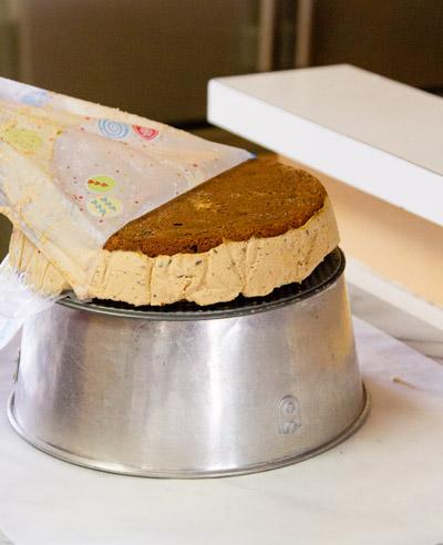For the glaze: removing the plastic wrap Frozen Mocha Cake with Chocolate Ganache Glaze or Birthday Dessert 2013! https://lifecurrentsblog.com