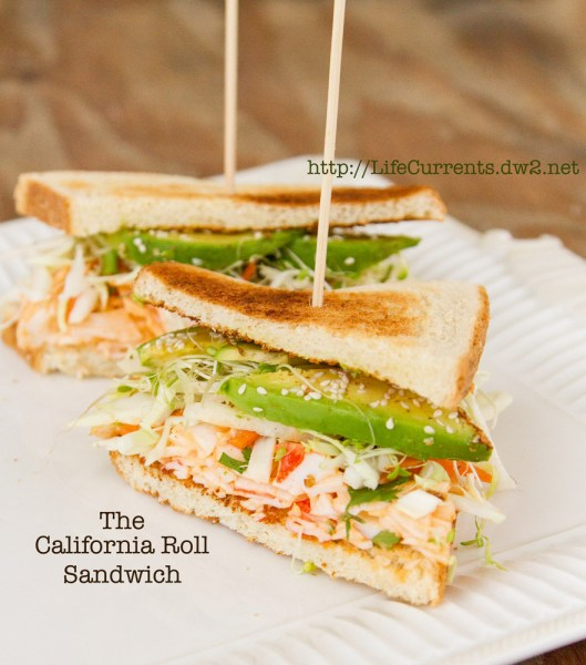 California Roll Sandwich https://lifecurrentsblog.com #sushi #sandwich #fusion