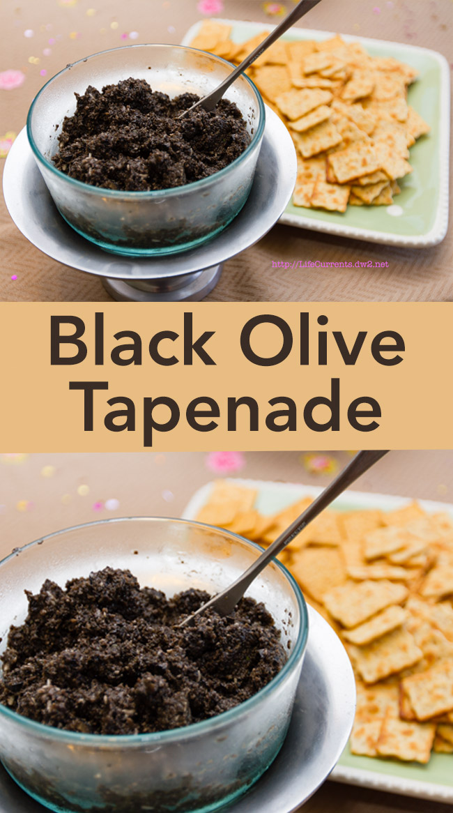 Two images of Black Olive Tapenade in a glass dish with a serving knife and crackers in the background
