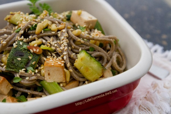 Soba Noodle Salad makes a great lunch! | Life Currents https://lifecurrentsblog.com soba noodles grilled vegetables