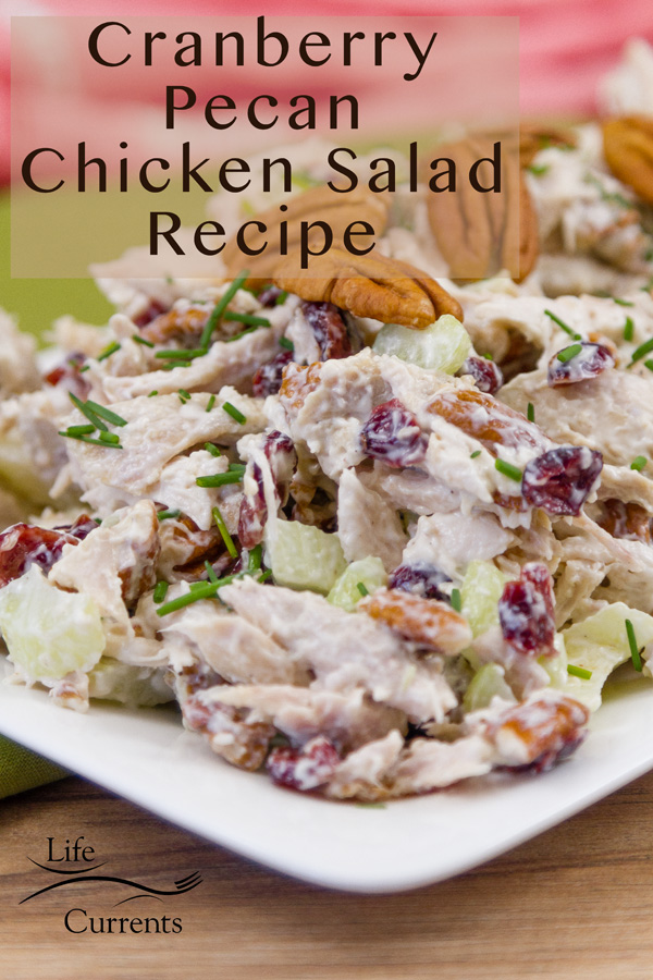 Cranberry Pecan Chicken Salad Recipe on a white plate with the title