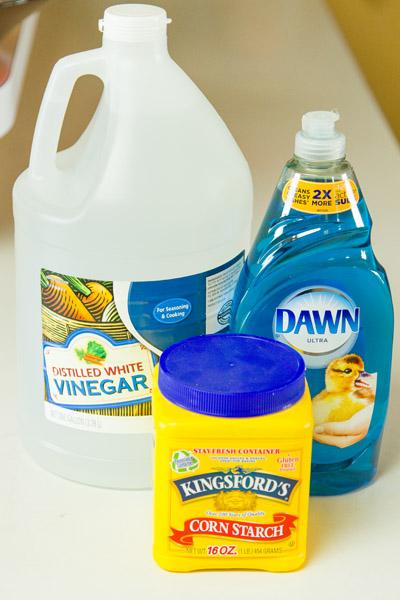 vinegar, Dawn, and cornstarch