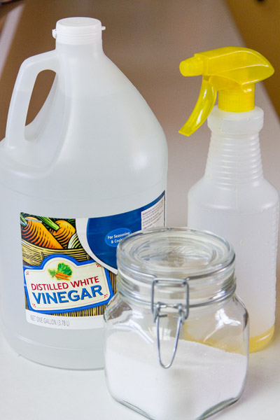 vinegar, salt, and lemon cleaner