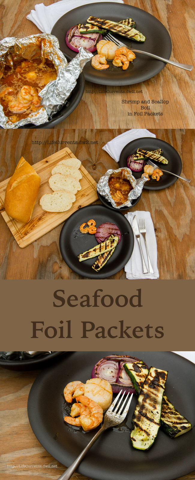 Shrimp and Scallop Boil in Foil Packets ready for camping, grilling, outdoor cooking. Long pin for pinterest
