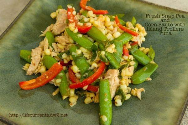Fresh Snap Pea and Corn Sauté with Island Trollers Tuna  |  Life Currents   https://lifecurrentsblog.com
