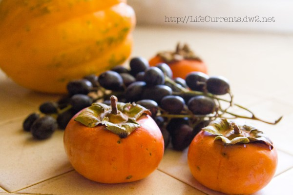Roasted Acorn Squash with Black Grapes and Cardamom Persimmons