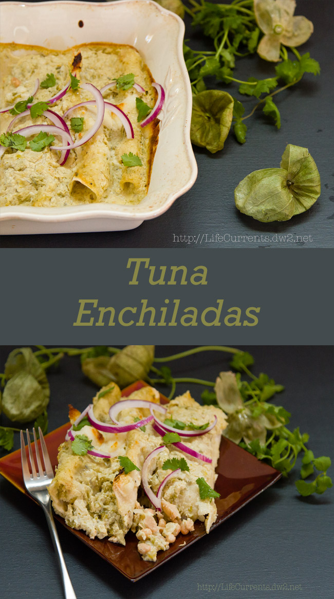 Island Trollers Tuna Enchiladas with tomatillos and green chile cream sauce #Mexican #Tuna #enchiladas