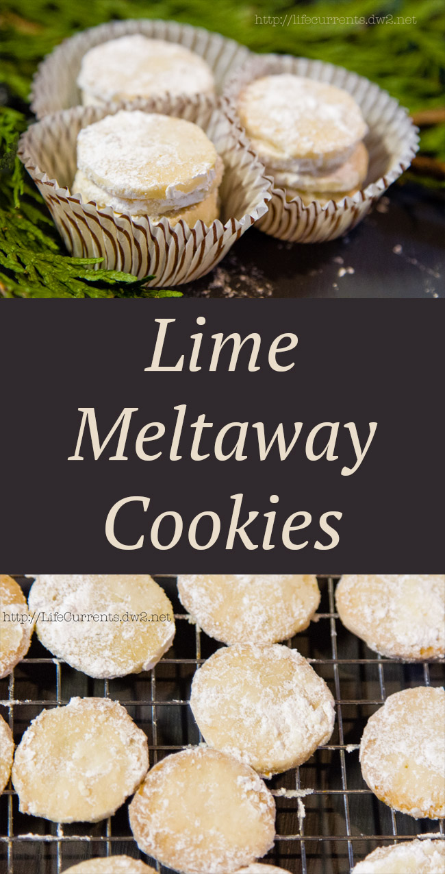 Lime Meltaway Cookies with two images and title for Pinterest.