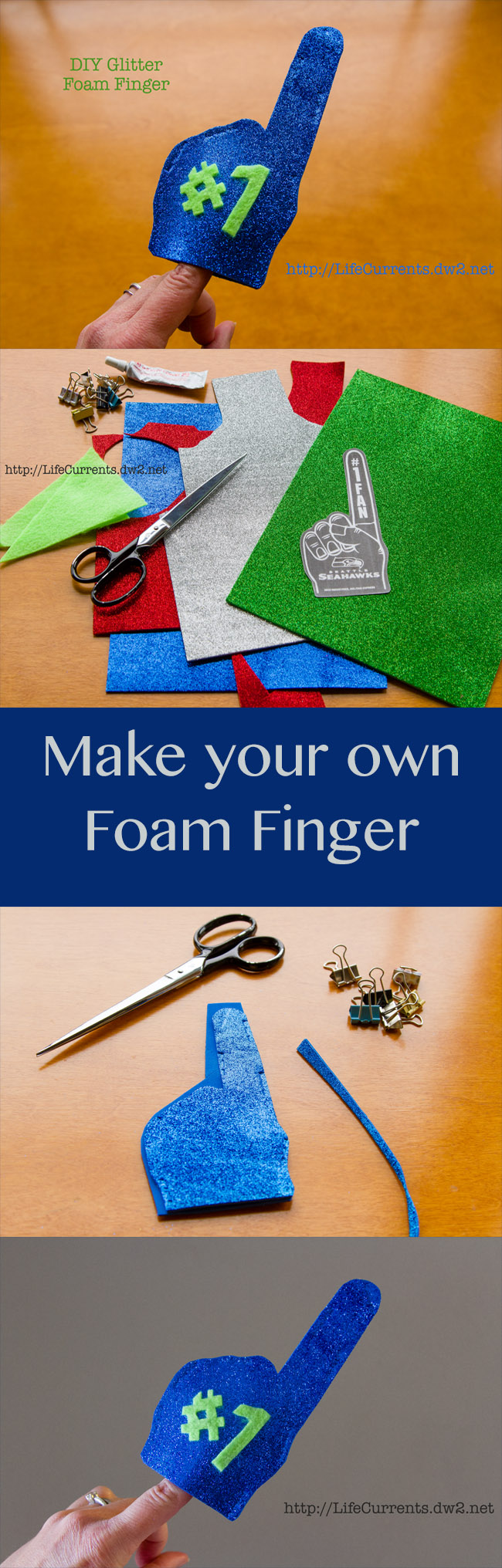 DIY Glitter Foam Finger customize yours for your favorite team!