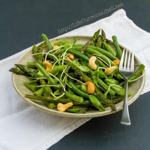 Spring Salad with White Balsamic Basil Vinaigrette #salad