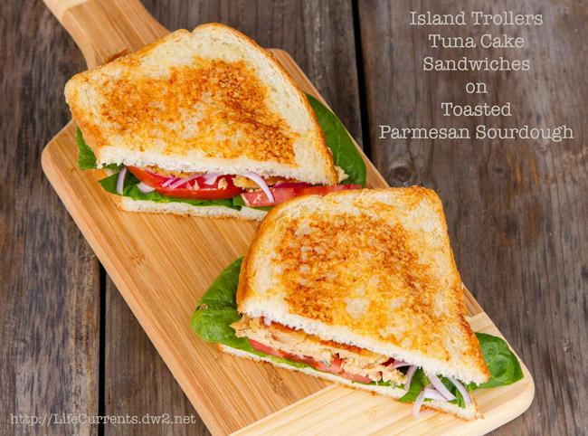 Island Trollers Tuna Cake Sandwiches on Toasted Parmesan Sourdough https://lifecurrentsblog.com #seafood #sustainable #tuna