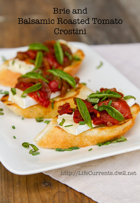 Brie and Tomato Crostini  #appetizer #snack #toast