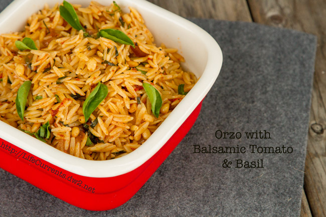 Orzo with Balsamic Tomatoes and Basil  |  Life Currents #sideDish #lunch #easy #vegan