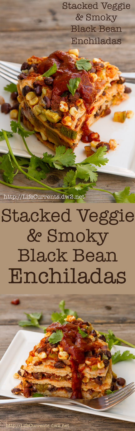 Stacked Veggie & Smoky Black Bean Enchilada Recipe long pin with two images and a title