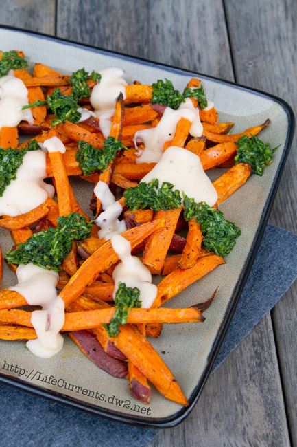 Sweet Potato Fries with Mac & Cheese Sauce and Chimichurri   Life Currents https://lifecurrentsblog.com
