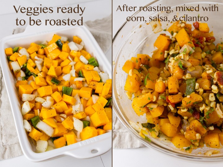 two process shots: left: raw veggies ready to be baked. Right: roasted veggies mixed with corn, cilantro, and salsa