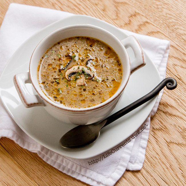 Homemade Vegetarian Mushroom Soup from Life Currents https://lifecurrentsblog.com