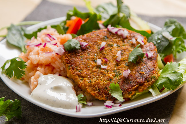 Southwestern Falafel with Easy Spanish Rice and Green Salad by Life Currents