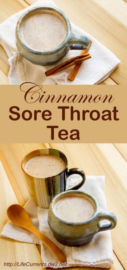 cinnamon sore throat tea by Life Currents long pin for Pinterest