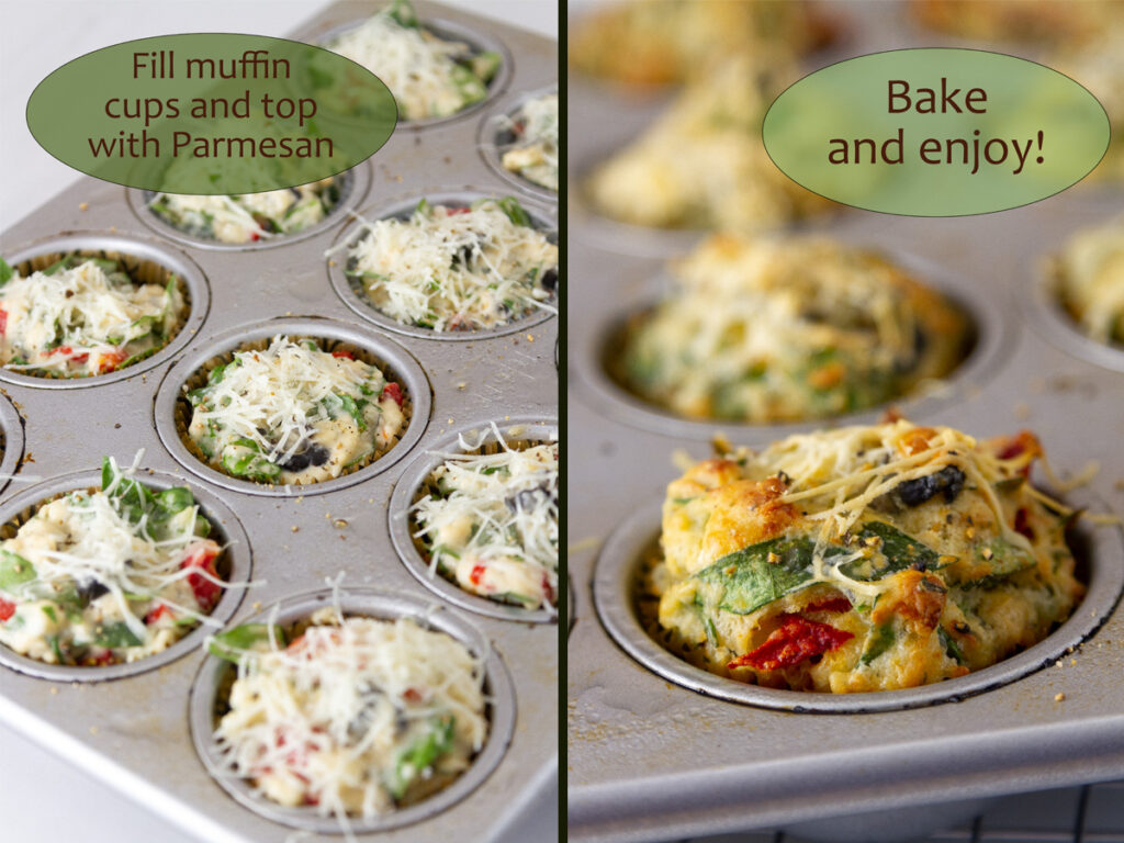 how to make savory muffins: spoon batter into muffin cups and bake.