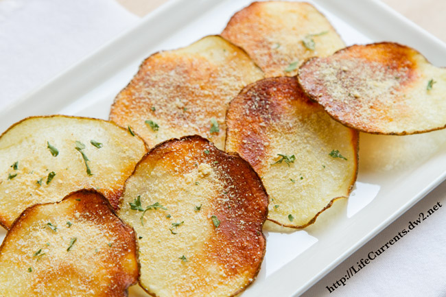 Homemade Baked Potato Chips featured recipe for Baked Sour Cream and Onion Potato Chips by Life Currents