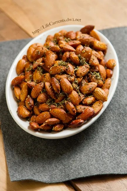 Sugared Pecans featured recipe for Crockpot Herbed Almonds are a great appetizer that are super easy to make becasue you getto use the slow cooker! by Life Currents https://lifecurrentsblog.com