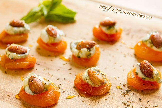 Apricots with Basil-Cream Cheese and Almonds are a great snack, appetizer, or a wonderful addition to Tapas night! by Life Currents