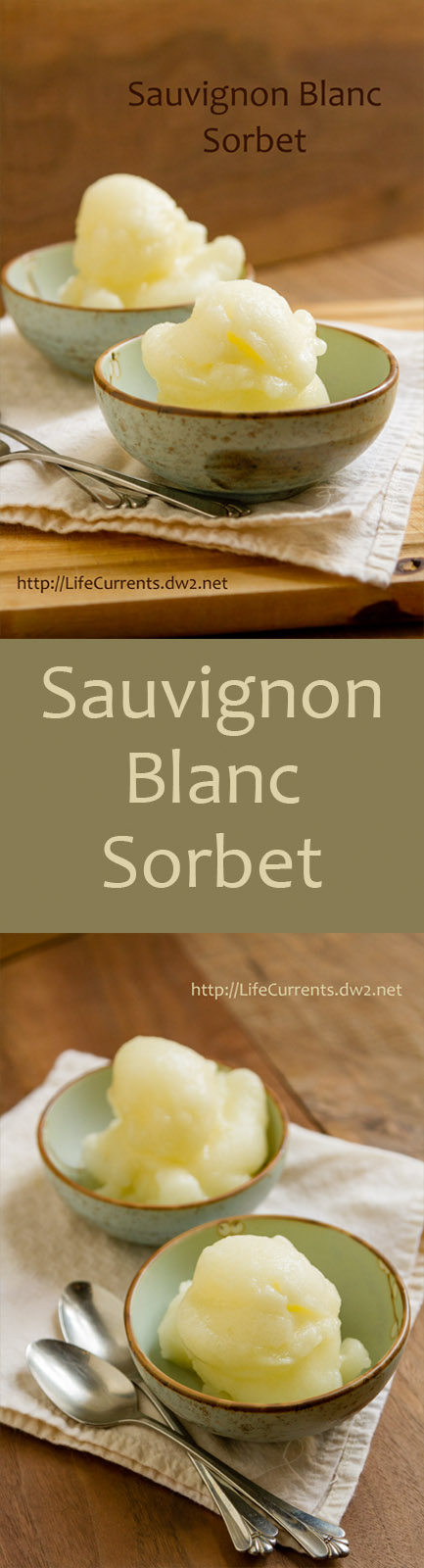 Long pin for Pinteerst for Sauvignon Blanc Sorbet Recipe
