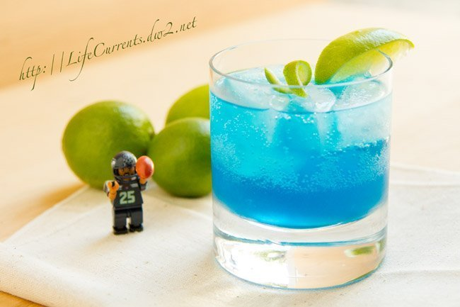 blue Cocktail with Seahawks action figure