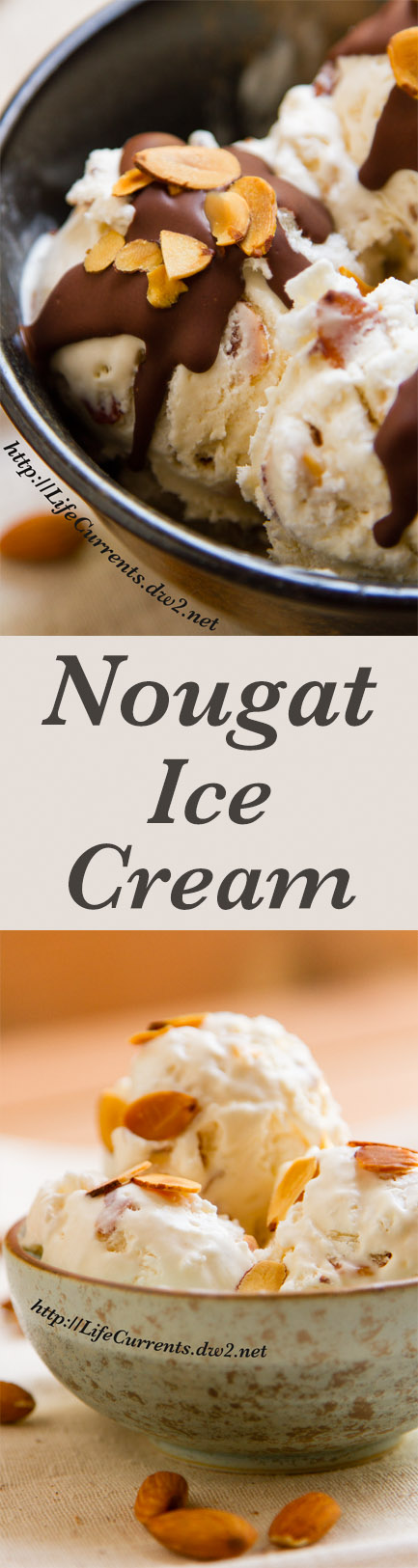 Almond Nougat Ice Cream Recipe Long pin with two images, top: with magic shell chocolate drizzle and bottom: in a blue bowl