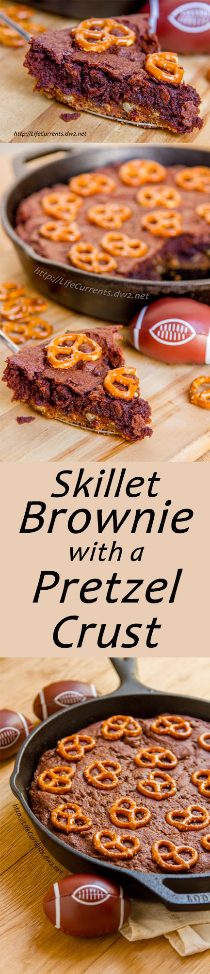 Skillet Brownies with Pretzel Crust