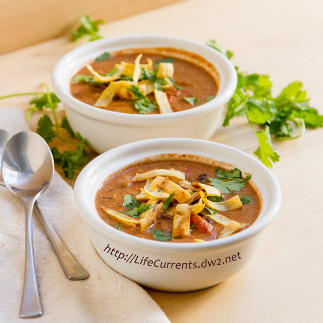 Slow Cooker Creamy Tortilla Soup is the perfect warming vegan soup for these colder months! https://lifecurrentsblog.com